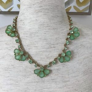 J Crew green and gold sparkle necklace